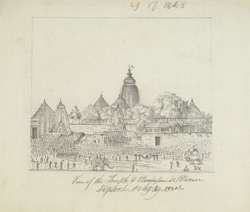 The Great Temple of Jagannath and procession, Puri (Orissa). September 1820